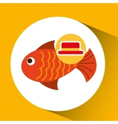 Travel tourist hat concept fish icon vector