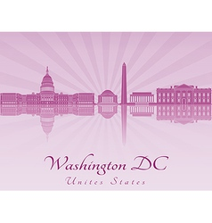 Washington dc skyline in purple radiant orchid vector