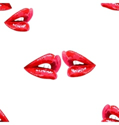 White seamless pattern with red lips vector image vector image