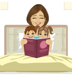 Young mother reading tale story to her children vector