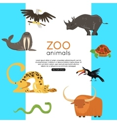 Zoo animals banner for advertising online tour vector image