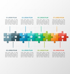 8 steps puzzle style infographic template vector