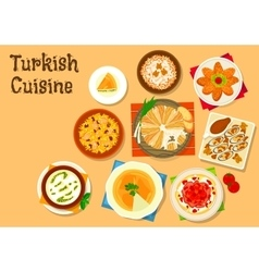 Turkish cuisine national dishes for menu design vector