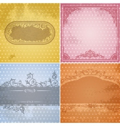 Set of vintage paper backgrounds with calligraphic vector