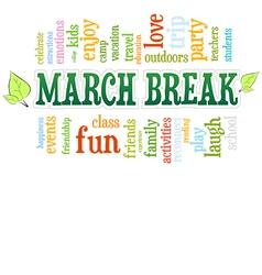 March spring school break word cloud bubble tag vector