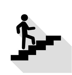 man on stairs going up black icon with flat style vector image