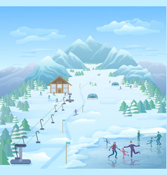 Winter recreational park template vector