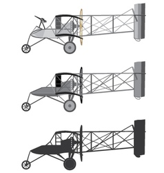 Model airplane retro biplane vector
