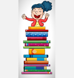 Happy girl jumping over stack of books vector