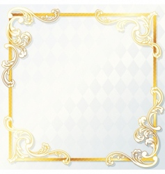 beautiful square rococo wedding frame vector image