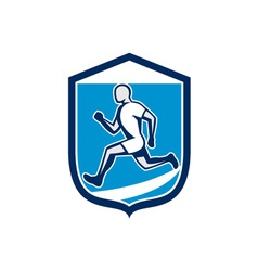 Sprinter runner running shield retro vector