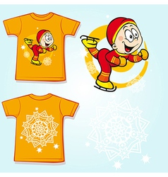 Kid shirt with skater - back and front view vector