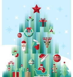 Christmas icons tree vector