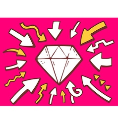 Arrows point to icon of diamond on pink b vector