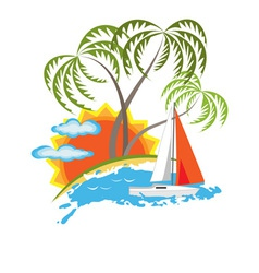Tropical island and sailboat vector