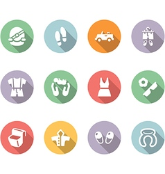 Clothing and trip icon set color with long shadow vector