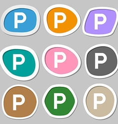 Parking icon symbols multicolored paper stickers vector