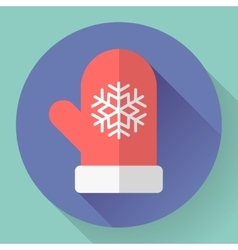 Red winter glove with snowflake flat designed vector