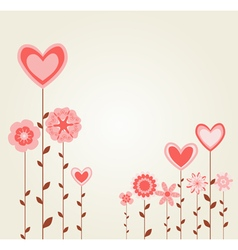 Flowers with heart shapes vector
