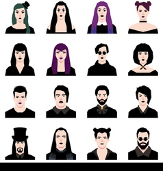 Set in a flat style avatars male and female goths vector