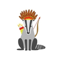 Badger wearing tribal clothing vector