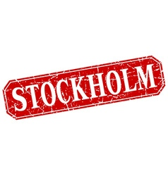 Stockholm red square grunge retro style sign vector