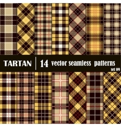 Set Tartan Seamless Pattern in golden and yellow vector image