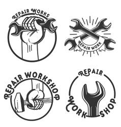 Vintage repair workshop emblems vector