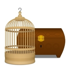 Wooden cage and casket vector