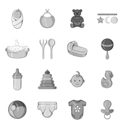 Baby care icons set black monochrome style vector