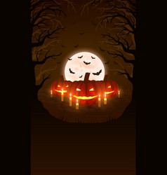 background with pumpkins and scary woods vector image