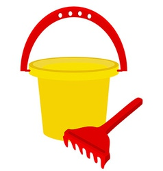 Beach toys- bucket and rake vector image