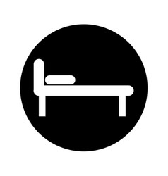Bed silhouette isolated icon vector