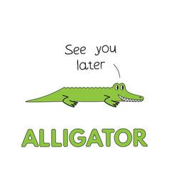 Cartoon alligator flashcard for children vector