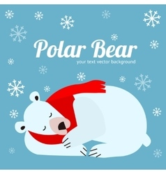 Cartoon Cute Polar Bear Animal Banner Card vector image vector image