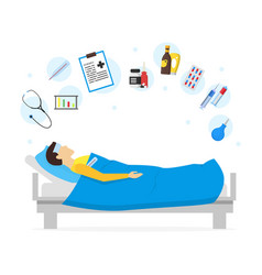 cartoon sick man in bed and element set vector image vector image