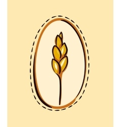 Cartoon wheat ear in a frame vector
