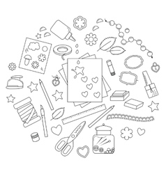 Collection of scrapbooking tools vector image vector image