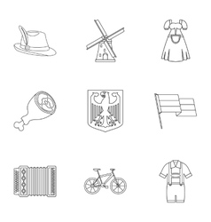 Country germany icons set outline style vector