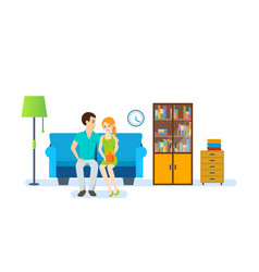 couple on background of interior of the room vector image vector image