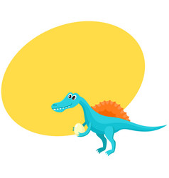 Cute and funny smiling baby spinosaurus dinosaur vector