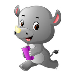 cute rhino holding book vector image