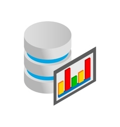 Database and computer monitor with chart icon vector image
