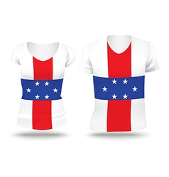 Flag shirt design of Netherlands Antilles vector image vector image