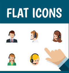 flat icon hotline set of secretary call center vector image vector image