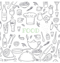 Food and drink outline doodle background hand vector