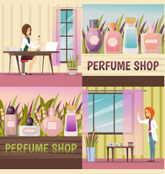 Four perfume shop icon set vector
