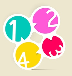 Four steps circle colorful labels vector