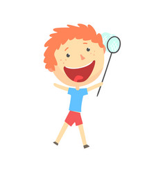 Happy smiling cartoon redhead boy playing with a vector