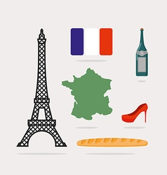 Icons symbols of France Eiffel Tower and map vector image
